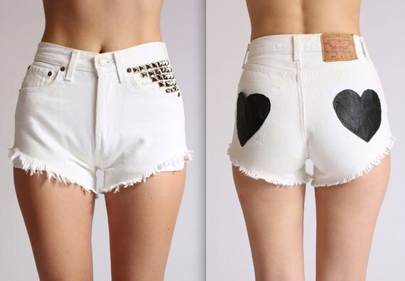 Studded White and Leather Heart Pocketed Levis XS/S