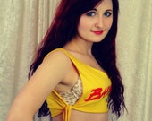 "Reconstructed Yellow/Red ""Baywatch"" logo tie Crop top - OOAK"