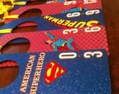 Baby Closet Clothing Dividers / Organizer Superman Comic Book Set