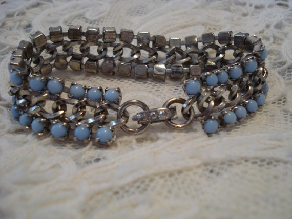 Reserved for June Vintage Blue Stone Chain Bracelet