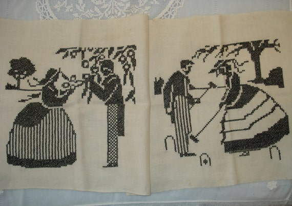 Vintage Black Cross Stitch Embroidery Linen Panels