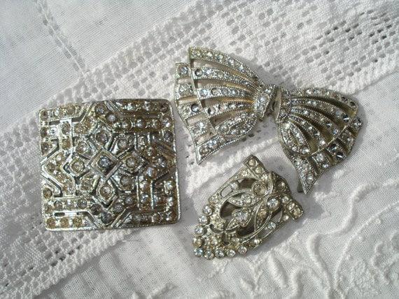 Vintage Art Deco Rhinestone Buckles and Dress Clip
