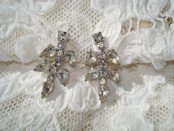Reserved for June Vintage Rhinestone Earrings Screw Back