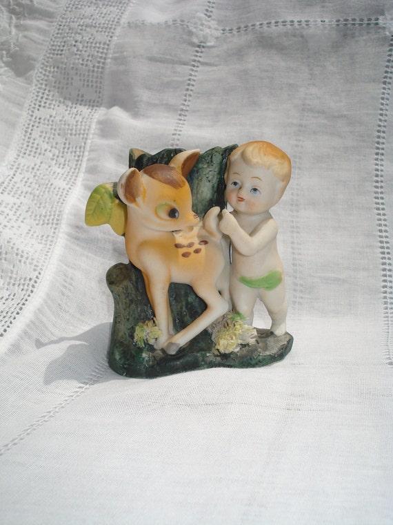 Vintage Bisque Baby Fairy and Fawn Deer Figurine Vase Japan