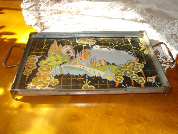 Vintage Metal Glass Serving Tray With Castle Image