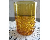 1890s EAPG Amber Glass Daisy and Button Tumbler Glass