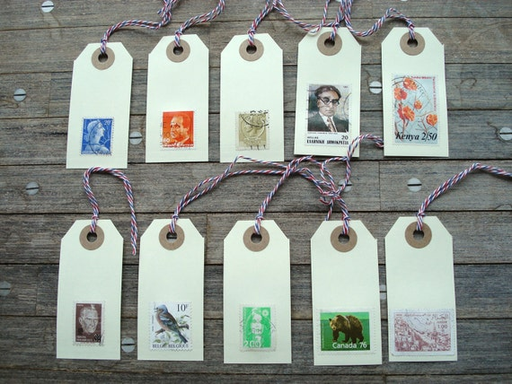 Vintage Stamps labels / gift tags / bookmarks - 10 x