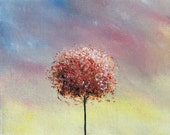 ORIGINAL Abstract Tree Oil Painting, Pink Blue and Yellow Contemporary Art, Textured Canvas, 5 x 7, All In a Day
