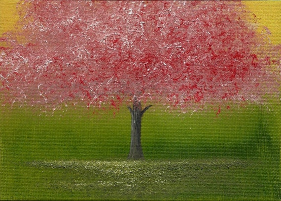 ORIGINAL Abstract Textured Cherry Blossom Tree Oil Painting - Beneath the Cherry Blossoms