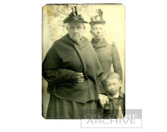 TIN MAIDS - strange portrait of two victorian women with a young boy - Tin Type Photography