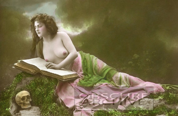 Nude Woman with Skull & Book -  beautiful hand colored photograph from the early 1900's