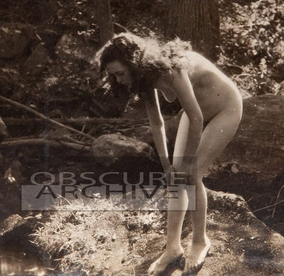 Nude Woman In The Forest - Vintage 1890s Albumen Photograph