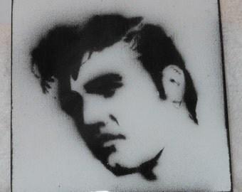 Handmade Coaster - Elvis Stencil