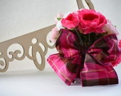Pink Plaid Bouquet Wrap with Large Bow