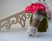 Burlap Bouquet Wrap with Lace Ruffle Detail at Each End and Pearl Accents