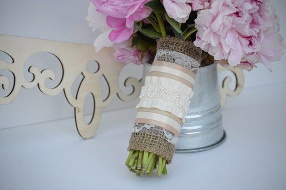 Burlap and Lace Bouquet Wrap with Beaded Detail and Ruffle