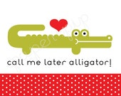 Printable Valentines - Alligator - PDF File