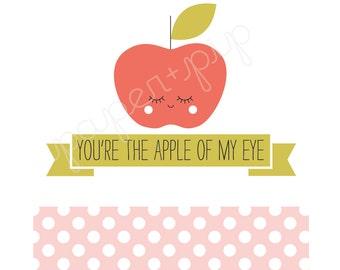 Printable Valentines - Apple of My Eye - PDF File