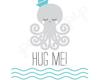 Printable Valentines - Hug Me - PDF File