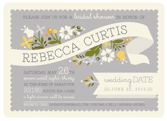 Bridal Shower Invitation - Printable - Gray & Yellow