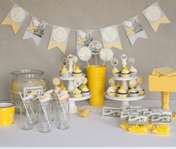 Bridal Shower Decorations - Printable - Yellow & Gray