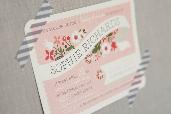 Baby Shower Invitation - Printable - Pink Bouquet