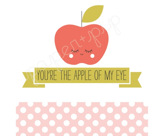 Printable Valentines Apple of My Eye PDF File