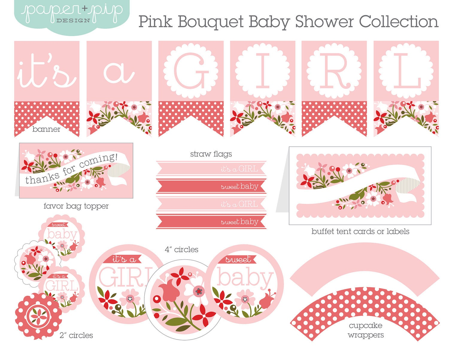 Baby shower decorations printable pink bouquet for Decoration word