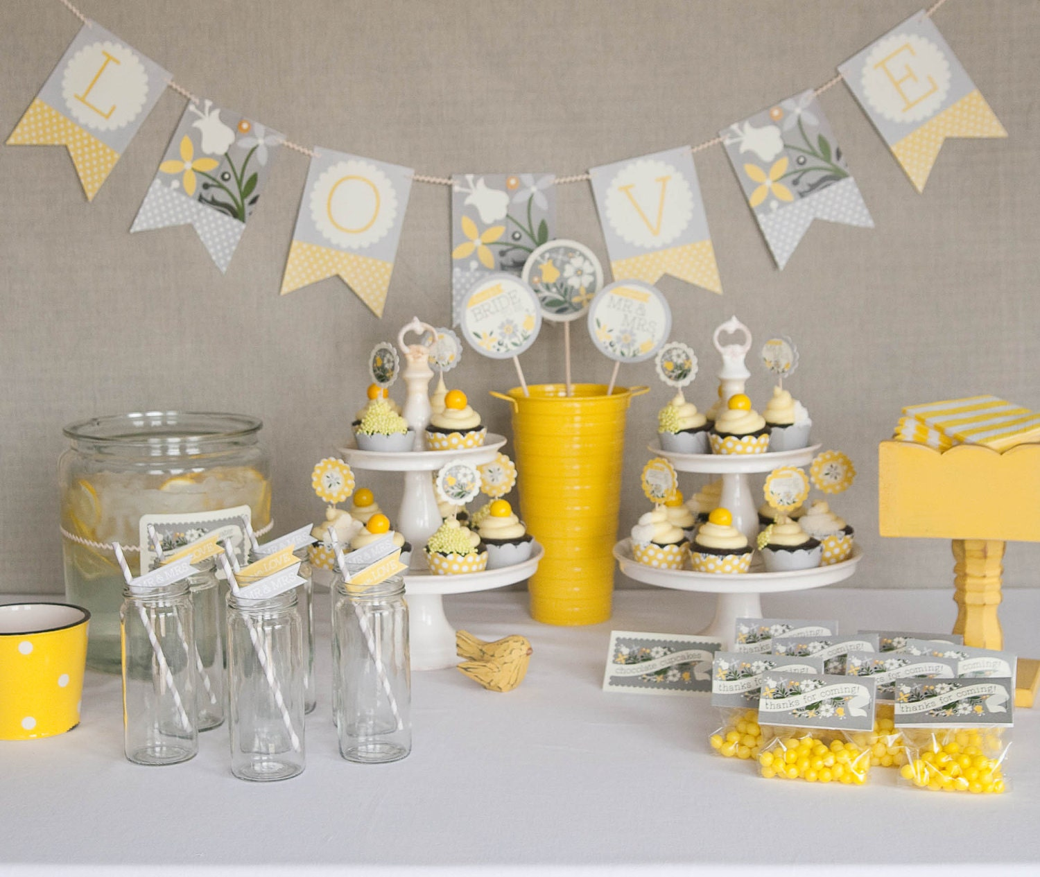 Bridal Shower Decorations Printable Yellow & Gray by PaperAndPip
