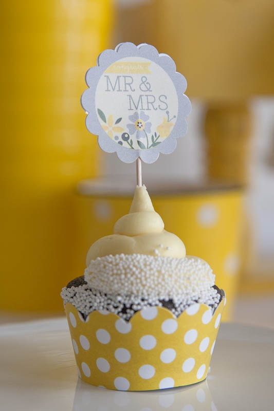 bridal shower decorations printable yellow  u0026 gray