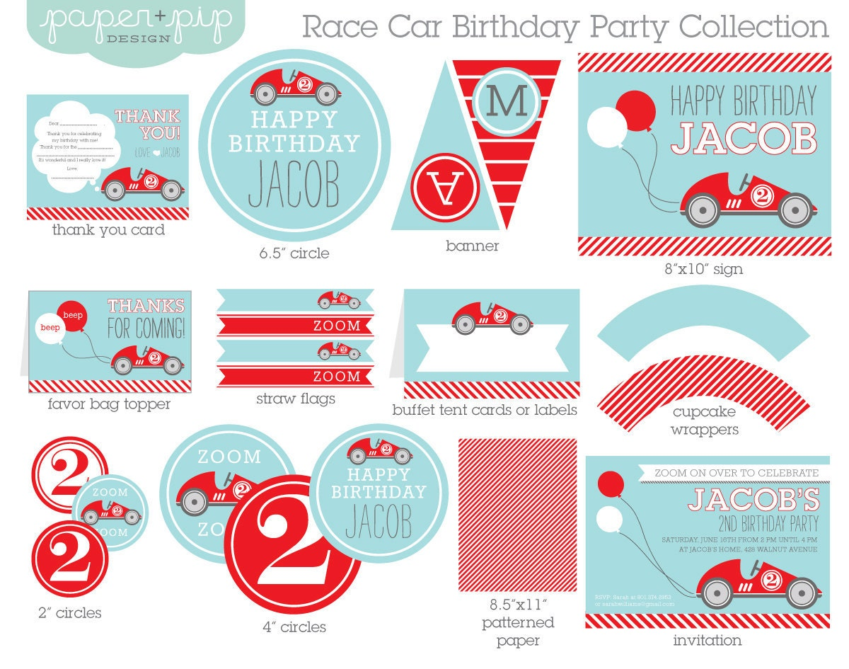 Race Car Birthday Party: Race Car Birthday Party Decorations & Invitation By