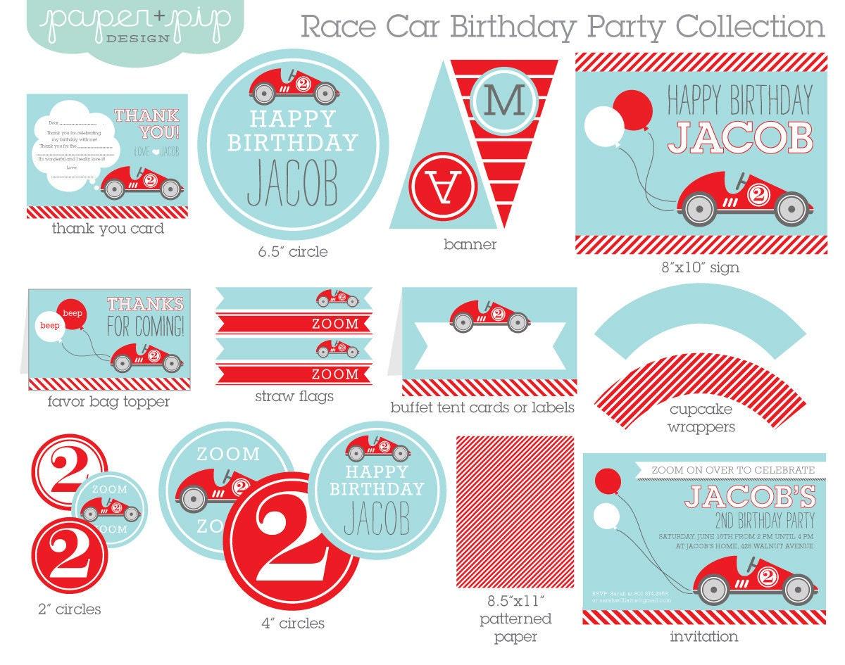 race car birthday party decorations  u0026 invitation by