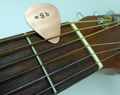 Hand Stamped Copper Guitar Pick - Initials - Personalized - Mens - Womens