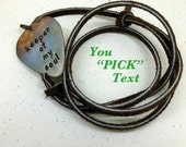 Personalized Guitar Pick -Mens Valentine Guitar Pick Necklace - Custom Hand Stamped Text - Leather Necklace