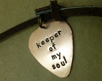 Personalized Guitar Pick -Hand Stamped Copper Guitar Pick - Mens Necklace