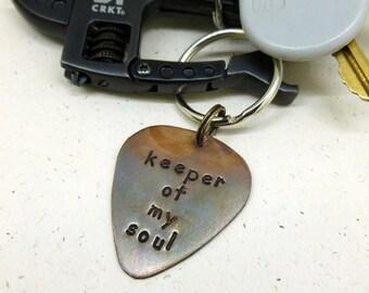 """Guitar Pick Keychain - Hand Stamped & Antiqued Copper Guitar Pick Keychain -""""Keeper of my soul"""" - Personalized - Men - Women - Unisex"""