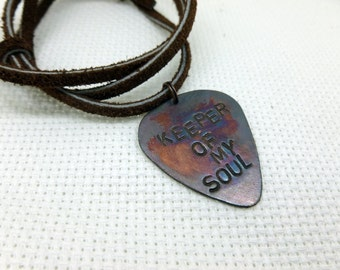 Guitar Pick Necklace - Personalized Guitar Pick -Mens - Keeper of my soul Hand Stamped Text - Leather Necklace
