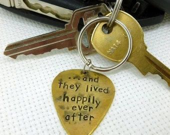 Guitar Pick Keychain - Hand Stamped & Antiqued Brass Guitar Pick Keychain - Happily Ever After - Mens - Womens