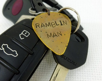 Guitar Pick Keychain - Hand Stamped & Antiqued Brass Guitar Pick Keychain - Ramblin Man - For him - Mens
