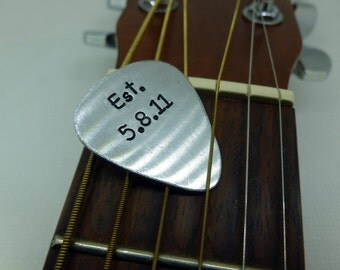 Guitar Pick - Hand Stamped Aluminum - Established - Personalized - Custom Great Gift!