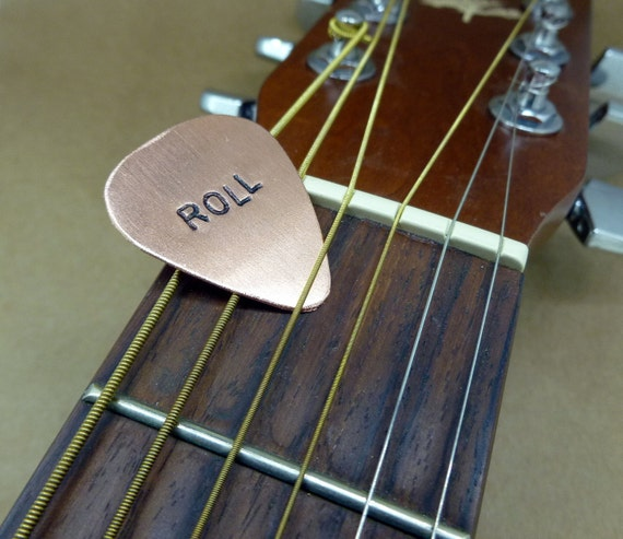 Hand Stamped Copper Guitar Pick - Personalized - Custom - Men - Women - Unisex