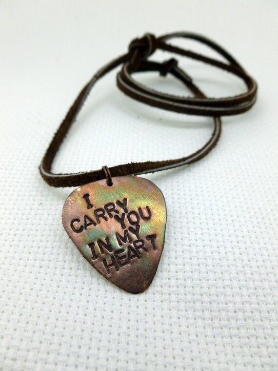 Mens Guitar Pick Necklace - I carry you in my heart - Leather Necklace
