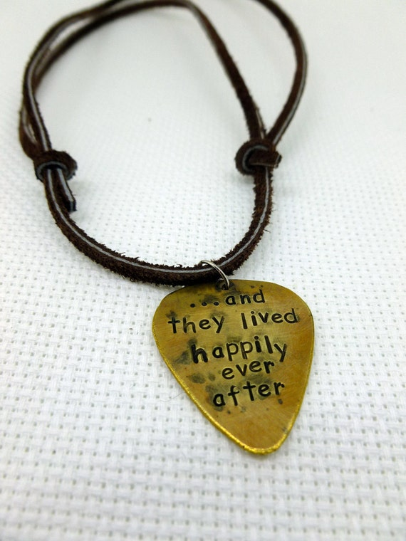 Personalized Guitar Pick -Hand Stamped & Antiqued Brass Guitar Pick Necklace - Happily Ever After - Womens - Mens
