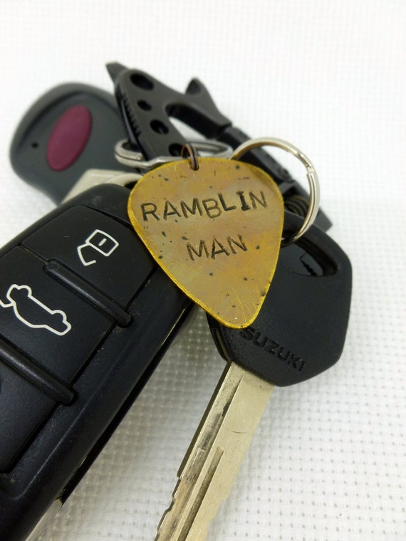 Guitar Pick Keychain - Hand Stamped & Antiqued Brass Guitar Pick Keychain - Ramblin Man - For him - Mens Great Gift!
