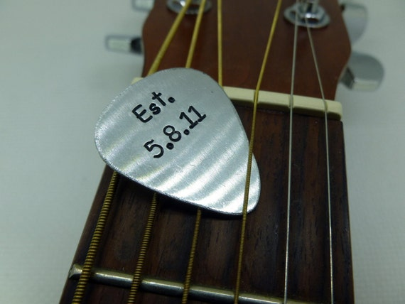 Guitar Pick - Hand Stamped Aluminum - Established - Personalized - Custom