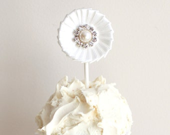 6, White off Satin Ribbon Wedding Cupcake Toppers - Both Sided