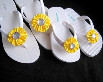 Lemon Yellow Flower Girl Flip Flops - Beach Wedding, Kid flip flops, Wedding Decorated Flip Flops