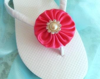 Magenta Wedding Flip Flops / Bridal Flip Flops / Beach Wedding Accessories