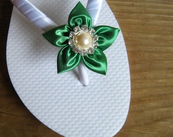 Emerald Green Floral Bridal Flip Flops / Bridesmaid , Bridal Shower, Flower Girl, Birthday Party, Favor