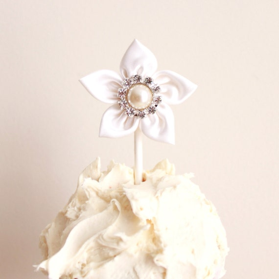 White Satin Flower Cupcake Toppers - Set of 6